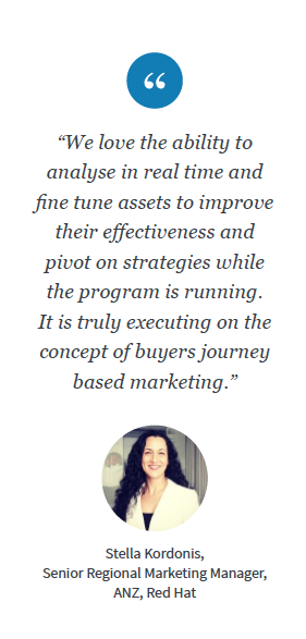 """We love the ability to analyse in real time and fine tune assets to improve their effectiveness and pivot on strategies while the program is running. It is truly executing on the concept of buyers journey based marketing,"" said Stella Kordonis."